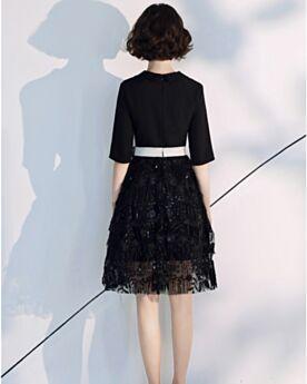 Knee Length Tassel Fashion Sequin Black Plunge Lace Cocktail Dress Semi Formal Dress Shirt