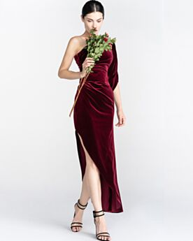 Velours Volantée Longue Derriere Epaule Nu Ceinture Asymétrique Robe Pour Mariage 2020 Bordeaux Simple Une Épaule Robe De Ceremonie Cocktail