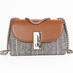 Leather Crossbody Shoulder Bag Houndstooth Handbag Fold Over Brown Fashion