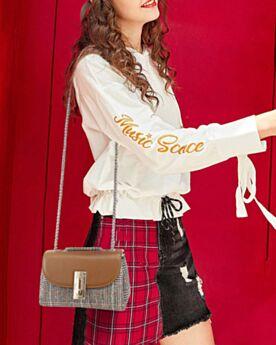 Leather Crossbody Shoulder Bag Houndstooth Handbag Fold Over Brown Fashion
