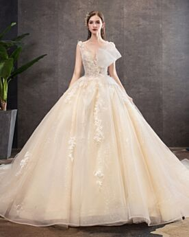 Principessa Bellissimi Luccicante Con Paillettes Abiti Da Sposa 2020 Tulle Champagne