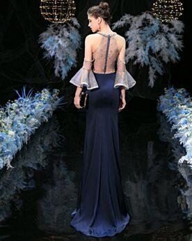 Blu Notte Maniche A Campana Allacciato Al Collo Lunghi Eleganti Abito Da Sera Manica Lunga Tubino Con Perline Di Raso Vestiti Cerimonia