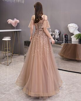 Marron Robes De Soirée Princesse Longue Chic Robes De Bal Dos Nu Epaule Nu Paillette