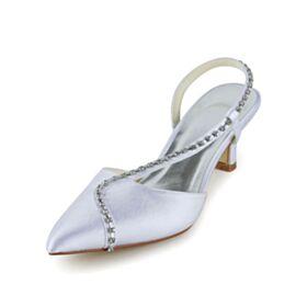 Talons Aiguilles Chaussure De Mariée Avec Strass Petit Talon Belle Bout Pointu Blanche Sandale
