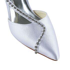 Kitten Heels Runtige Neus Witte Bruidsschoenen Elegante Sandalen Dames Satijnen