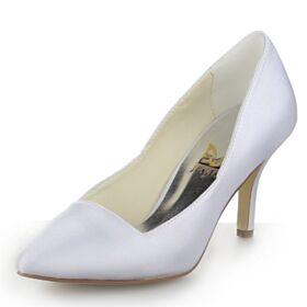 Escarpins Talons Aiguilles Chaussure Mariage Simple Bout Pointu Blanche Satin Talons Hauts