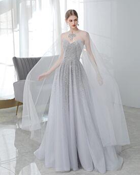 キラキラ パーティー ドレス ロング ビーズ バックレス スパンコール A ライン ゴージャス シルバー ハート ネック ノースリーブ エンパイア イブニングドレス 8421020439