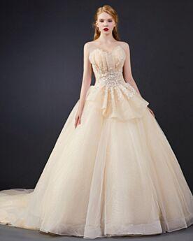 Prom Dress Sweet 16 Dress Open Back Ruffle Strapless Tulle Glitter Sweetheart Ball Gown
