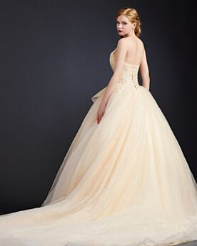 Escote Corazon Vestidos De Prom Purpurina Largos Volantes Color Champagne Con Encaje Sin Manga Estilo Princesa Elegantes