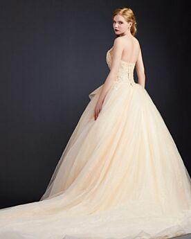 Prinzessin Tragerloses Konfirmationskleid Glitzer Ballkleid Lange Kleider Für Festliche Rüschen Rückenausschnitt