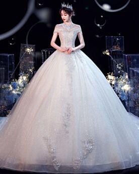 Prinzessin Transparentes Mit Schleppe Lange Pailletten Applikationen Hochzeitskleider Hochgeschlossene Glitzer Kurzarm Rückenausschnitt Glitzernden