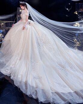 Baljurk Doorkijk Met Staart Lange Pailletten Applique Bruidsjurk Hoge Kraag Glitter Korte Mouwen Open Rug Sparkle