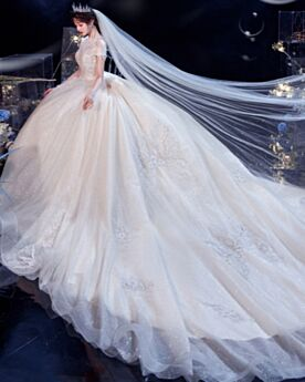 Sequin See Through Appliques Wedding Dresses Ball Gown White Open Back Long Glitter Turtleneck Beading