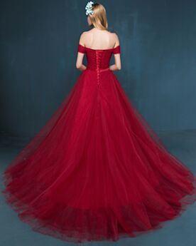 Open Back Burgundy With Train Elegant Ball Gowns Sleeveless Tulle Prom Dress Off The Shoulder Long