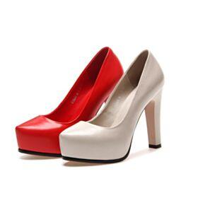 Plateau Rot High Heel Chunky Heel  Mit Rote Sohle Absatzschuhe Spitz Zeh 11 cm Leder Klassisch