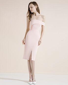 Sheath Blushing Pink Backless Peplum Summer Satin Split Sexy Semi Formal Dresses Cocktail Dress