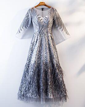 Pailletten Brautmutterkleider Glitzernden Abendkleider Fit N Flare Partykleider Mit Fransen Silber Abiballkleid