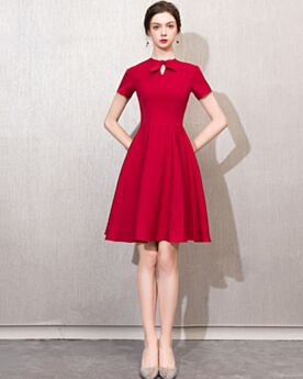 Fit And Flare Red Semi Formal Party Dress Bow Simple Wedding Guest Dress Scoop Neck