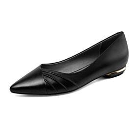 Ballerinas Bequeme Schwarz Spitz Zeh Flache Leder Business Schuhe
