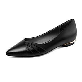 Noir Chaussures Travail Ballerine Bout Pointu