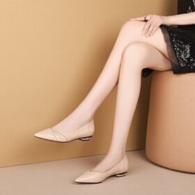 Nude Plates Ballerine Volantée Chaussures De Travail Cuir