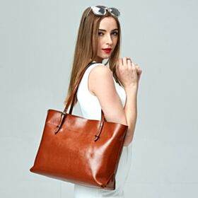 Going Out Shoulder Bag Leather Handbag Simple Classic Tote Brown