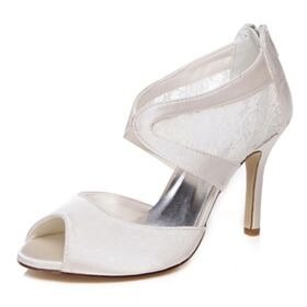 Sandals Bridal Shoes Stilettos Peep Toe High Heels Charming Lace