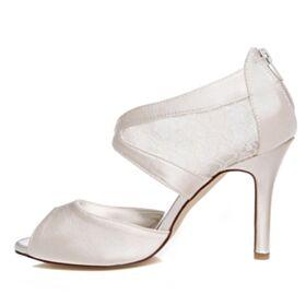 Stilettos Elegantes Peep Toe Sandalias Zapatos Para Novia De Encaje Tacones Altos 9 cm Blancos