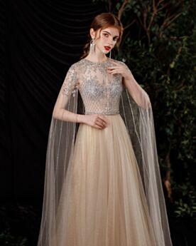 Empire Robe De Fiancaille Robe De Soirée Princesse Dos Nu Perlage Transparente Sequin Champagne Manche Longue Luxe