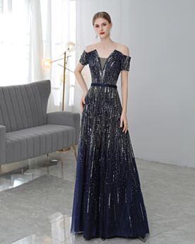 Empire Décolleté Bleu Marine Sequin Robes De Soirée Princesse Longue Tulle Dos Nu Robe De Bal