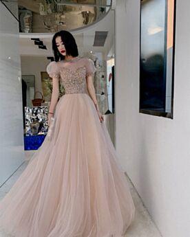 バックレス イブニングドレス ワインレッド 成人式ドレス プロムドレス チュール スパンコール 半袖 ハイネック Aライン シンプル な 8521050875