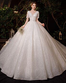 Sequin Charming Glitter Short Sleeve A Line Luxury Wedding Dress Ivory