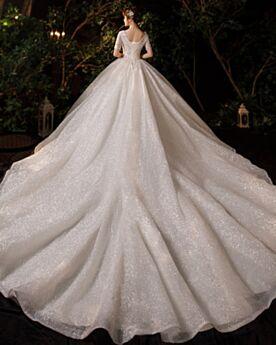Bellissimi Eleganti Tulle Maniche Corte Scollati Avorio Schiena Scoperta Paillettes Vestiti Da Sposa Glitter