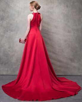 Prom Dresses Sleeveless Evening Dress Elegant Halter Satin Princess Red Pleated