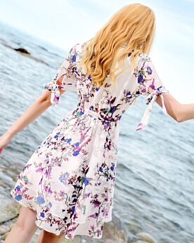 Skater Swing Summer Beautiful Dresses Tulle Day Dresses Going Out Peter Pan Collar Mini Office Cute Out Floral