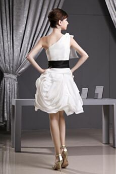Organza Ruffle White 3D Flower Semi Formal Dress Cocktail Dresses One Shoulder Short Tulle Sleeveless Ball Gowns