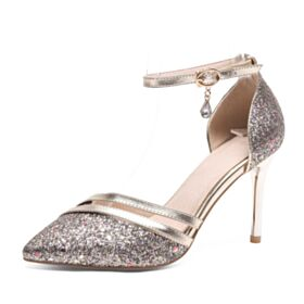 Rose Gold High Heels Sequin Prom Shoes Pointed Toe Ankle Strap Stilettos Summer Sandals