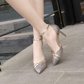 Glitter Oro Rosa Sandali Cinturino Alla Caviglia Estivi Tacco Alto Scarpe Cerimonia Luccicante A Punta Tacco A Spillo