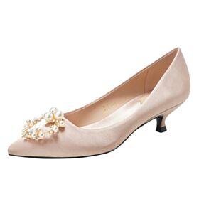 Runtige Neus Satijnen Bruidsmeisjes Schoenen Bruidsschoenen 3 cm Kitten Heel Stiletto Champagne Gouden Pumps Comfort