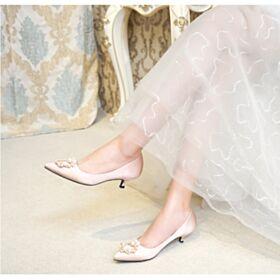 Chaussure Mariée Satin Petit Talon Perle Talon Aiguille Escarpins Femmes Chaussure Demoiselle D honneur