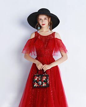 Schöne Rüschen Abendkleid Ballkleid Glitzernden Konfirmationskleid Pailletten Lange Schulterfreies Rot