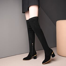 Boots Leather Round Toe Chunky Heel 7 cm Mid Heels Suede Adjustable Thigh High Black