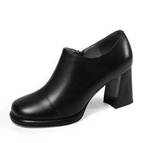 Classique 2019 Chaussures De Travail Talons Carrés Cuir 8 cm Talon Haut Noir Bottines