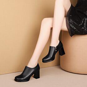8 cm High Heels Zwart Zakelijke Enkellaarsjes Klassiek Damesschoenen Blokhakken