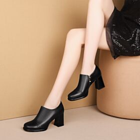 Classic Office Shoes Black Leather 2019 Boots Block Heels Booties Round Toe High Heel