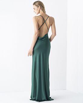 Long Simple Vintage Sleeveless Bridesmaid Dress For Wedding Party Formal Evening Dress Emerald Green Backless Spaghetti Strap Sheath