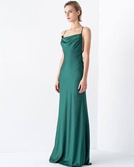 2020 Longue Vert Emeraude Fourreau Robe D'honneur Simple Satin Robes De Soirée Dos Nu