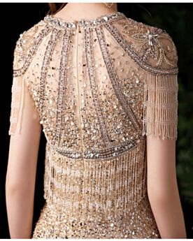 Prom Dresses Long Gold Evening Dresses Sparkly Mermaid Sequin Tassel Engagement Dresses Luxury
