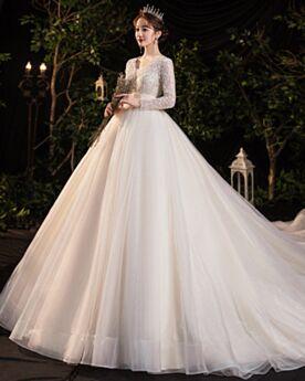Elegante Glitzernden A Linie Rückenausschnitt Chiffon Lange Ärmel Brautkleider Pailletten Tiefer Ausschnitt Creme