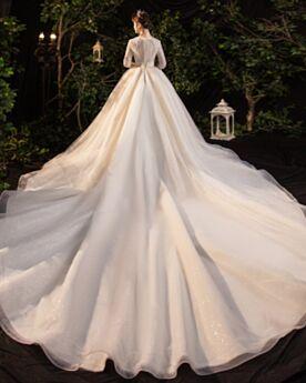 Elegant Sparkly A Line Open Back Chiffon Long Sleeve Wedding Dresses Sequin Plunge Ivory